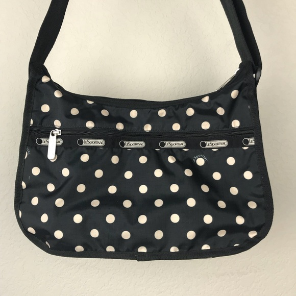 f57975a915 Lesportsac Handbags - LeSportsac Black Vinyl Polka Dot Crossbody Purse